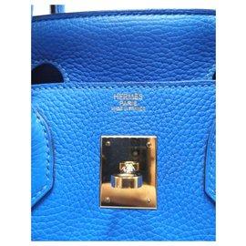 Hermès-HERMES BIRKIN 30 Blue Hydra GHW-Blue