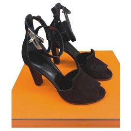 Hermès-Hermes Nina sandales noires talons chaussures EU38. 5-Noir