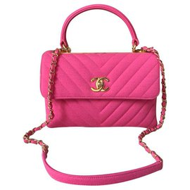 Chanel-Chanel Trendy CC pink chevron bag-Pink