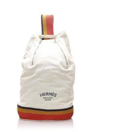 Hermès-Hermes White Cavalier Cotton Sling Backpack-White,Multiple colors