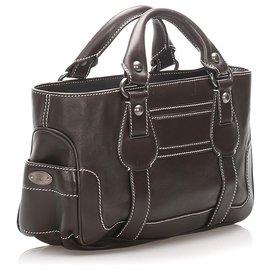 Céline-Celine Brown Boogie Leather Handbag-Brown,Dark brown