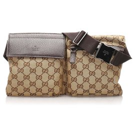 Gucci-Gucci Brown GG Sac de ceinture en toile-Marron