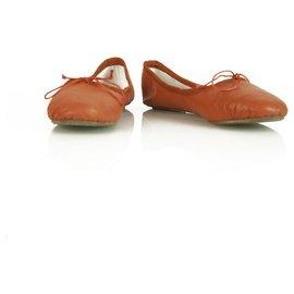 Chloé-Chloe Burnt Orange Soft Leather Bow Ballerinas Flat Shoes size 38.5-Orange