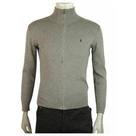 Polo Ralph Lauren-Ralph Lauren Polo Grey Zipper Front Pull en tricot de coton Garçon 14 - 16 ans ou hommes S-Gris