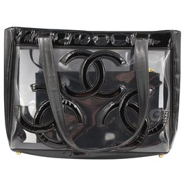 Chanel-Chanel handbag in black and transparent vinyl.-Black