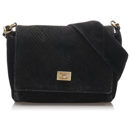 Chanel-Chanel Black Wild Stitch Suede Shoulder Bag-Black