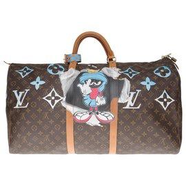 """Louis Vuitton-Superbe Sac de voyage Louis Vuitton Keepall 60 en toile monogram customisé """"F***"""" et numéroté 66-Marron"""