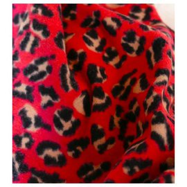 Marc by Marc Jacobs-Écharpe châle en coton brossé imprimé léopard rose vif-Rose