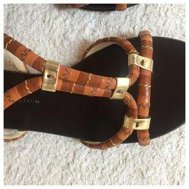 Rupert Sanderson-Leather flat sandals-Light brown