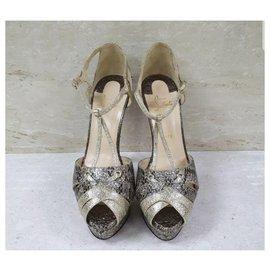 Christian Louboutin-Christian Louboutin Snake Heeled Open Toe Sandals Sz.40,5-Multiple colors