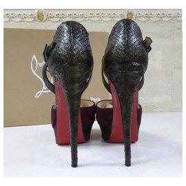 Christian Louboutin-Christian Louboutin Suede Python Heeled Open Toe Shoes Sz.38,5-Multiple colors