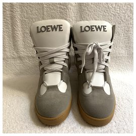Loewe-Leather high sneakers-White