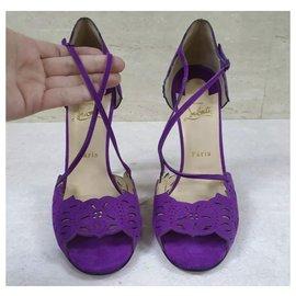 Christian Louboutin-Christian Louboutin Enchantee Purple Suede Wiggly Heels 120 sz.40-Multiple colors