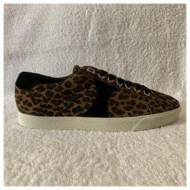 Céline-Sneaker Triomphe en daim Animalier-Imprimé léopard
