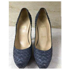 Christian Louboutin-Christian Louboutin Python Leather Heels Shoes Sz.37.5-Dark grey