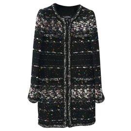 Chanel-Chanel Multicolor Metallic Tweed Supermarket Collarless Coat Sz 36-Multicolore