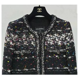 Chanel-Chanel Multicolor Metallic Tweed Supermarket Collarless Coat Sz 36-Multiple colors