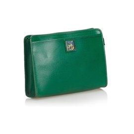 Céline-Celine Green Leather Clutch Bag-Green