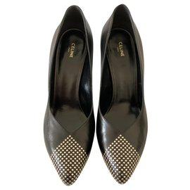 Céline-Studded black leather pumps-Black