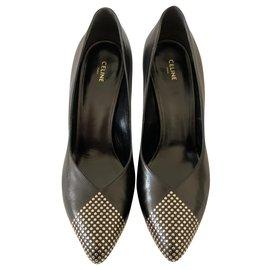 Céline-Escarpins en cuir noir clouté-Noir