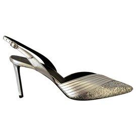 Céline-Sandales en cuir argenté métallisé et paillettes-Argenté