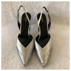 Céline-Metalized silver leather and glitter sandals-Silvery