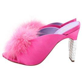 Mulberry-Greta Pink Silk & Crystal Marabou Feather Pom Pom Mules-Pink