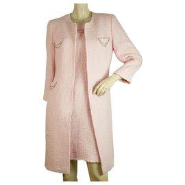Autre Marque-LALTRAMODA Coton Rose Mince Argent Tons Chaînes Manteau Veste Robe Costume Ensemble sz 44-Rose