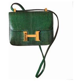 Hermès-Hermès micro Constance handbag in green lizard and gold jewelry 13.5 cm-Dark green