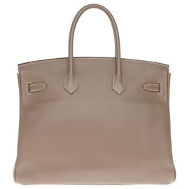 Hermès-HERMES BIRKIN 35 leather epsom color tow, silver hardware palladium, In very good shape !-Grey