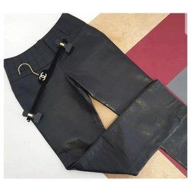 Chanel-Pantalon en cuir noir Chanel Sz.34-Noir