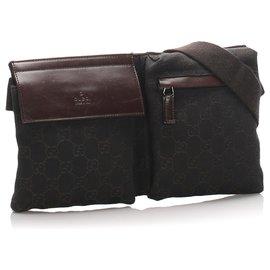 Gucci-Gucci Brown GG Sac de ceinture en toile-Marron,Marron foncé