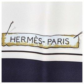 Hermès-Hermes Blue Passementerie Silk Scarf-Blue,Multiple colors