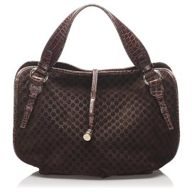 Céline-Celine Brown Macadam Leather Handbag-Brown,Dark brown