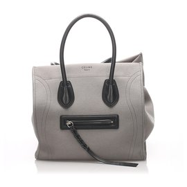 Céline-Celine Black Phantom Canvas Tote Bag-Black,Grey