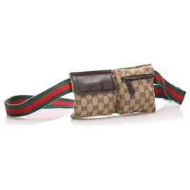 Gucci-Gucci Brown GG Sac de ceinture en toile-Marron,Marron clair,Marron foncé