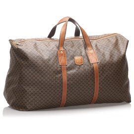 Céline-Celine Brown Macadam Travel Bag-Brown,Dark brown