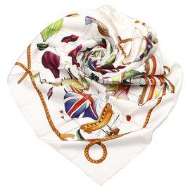 Hermès-Hermes White Les Folies du Ciel Silk Scarf-White,Multiple colors