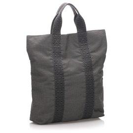Hermès-Hermes Black Fourre Tout Cabas-Black,Grey