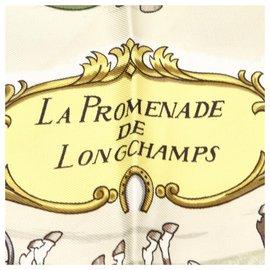Hermès-Hermes Green La Promenade De Longchamp Silk Scarf-Multiple colors,Green