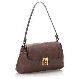 Chloé-Chloe Brown Elsie Leather Crossbody Bag-Brown,Dark brown