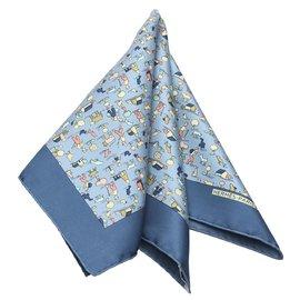 Hermès-Hermes Blue Printed Silk Scarf-Blue,Multiple colors