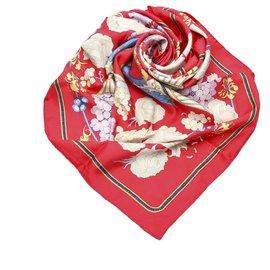 Hermès-Hermes Red Fleurs et Raisins Silk Scarf-Red,Multiple colors