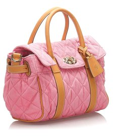 Mulberry-Mulberry Pink Small Quilted Canvas Bayswater Satchel-Brown,Pink