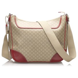 Céline-Celine Brown Macadam Crossbody Bag-Brown,Red,Beige