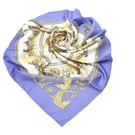 Hermès-Hermes White La Promenade De Longchamp Silk Scarf-White,Blue