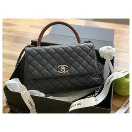 Chanel-Coco handle lizard-Dark blue