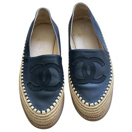 Chanel-Chanel espadrilles moccasins-Navy blue