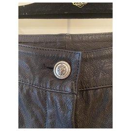 Chanel-Pantalon Chanel en cuir-Noir