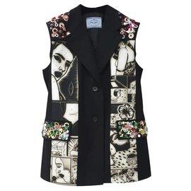 Prada-$3970 PRADA Alice Sleeveless Vest Jacket Sz.42-Multiple colors